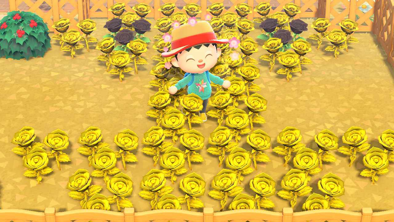 Animal Crossing character standing in field of golden roses