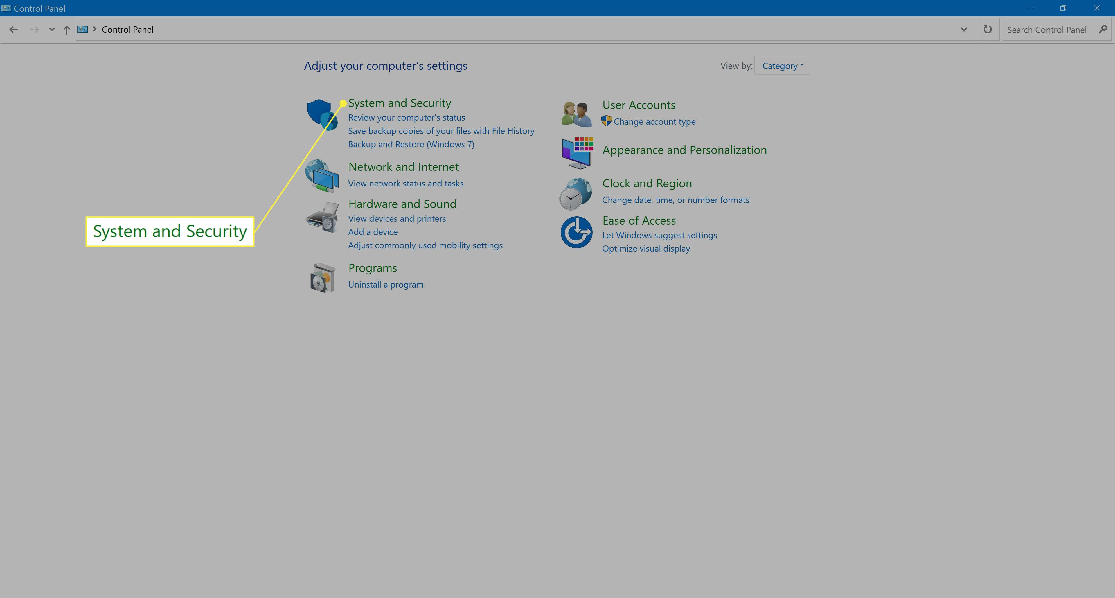 Selecting System and Security in Windows 10.