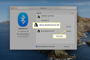 Pairing Bose headphones to a Mac from Bluetooth preferences