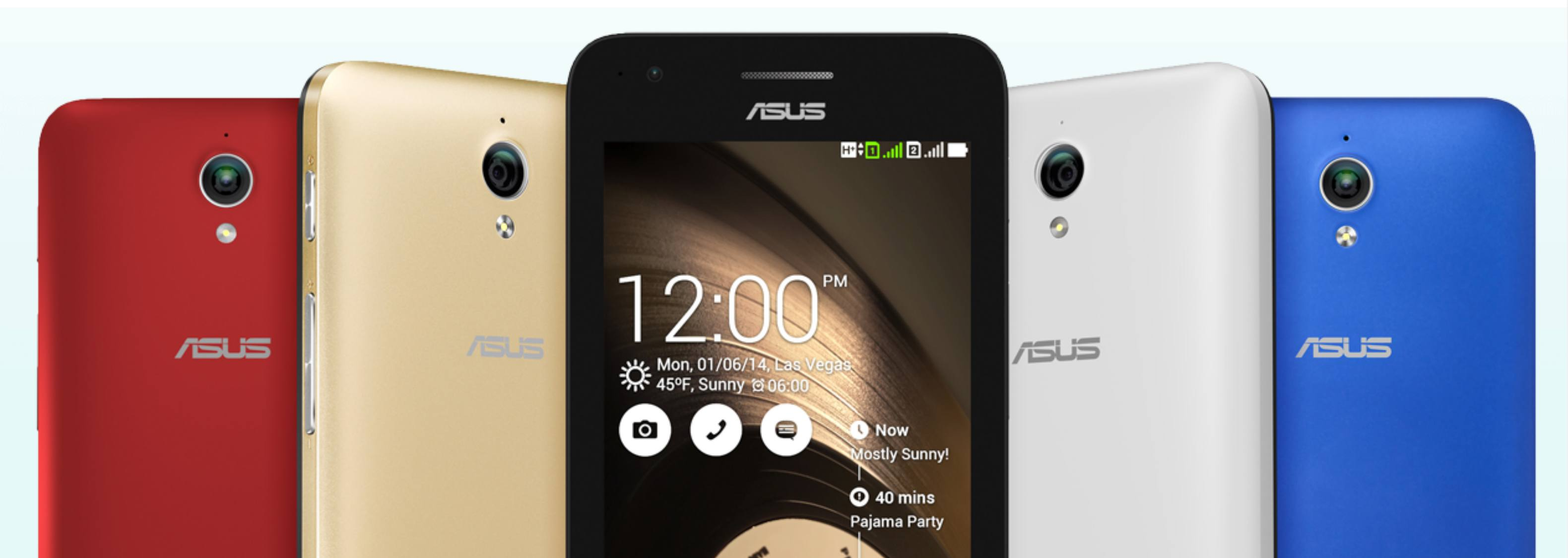 Asus ZenFone C in red, gold, white, and blue, front and back views