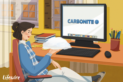 Person using Carbonite on a computer