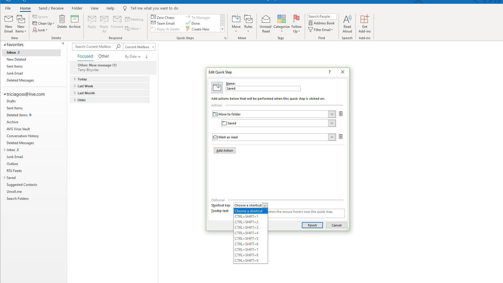 Screenshot of Shortcut Key