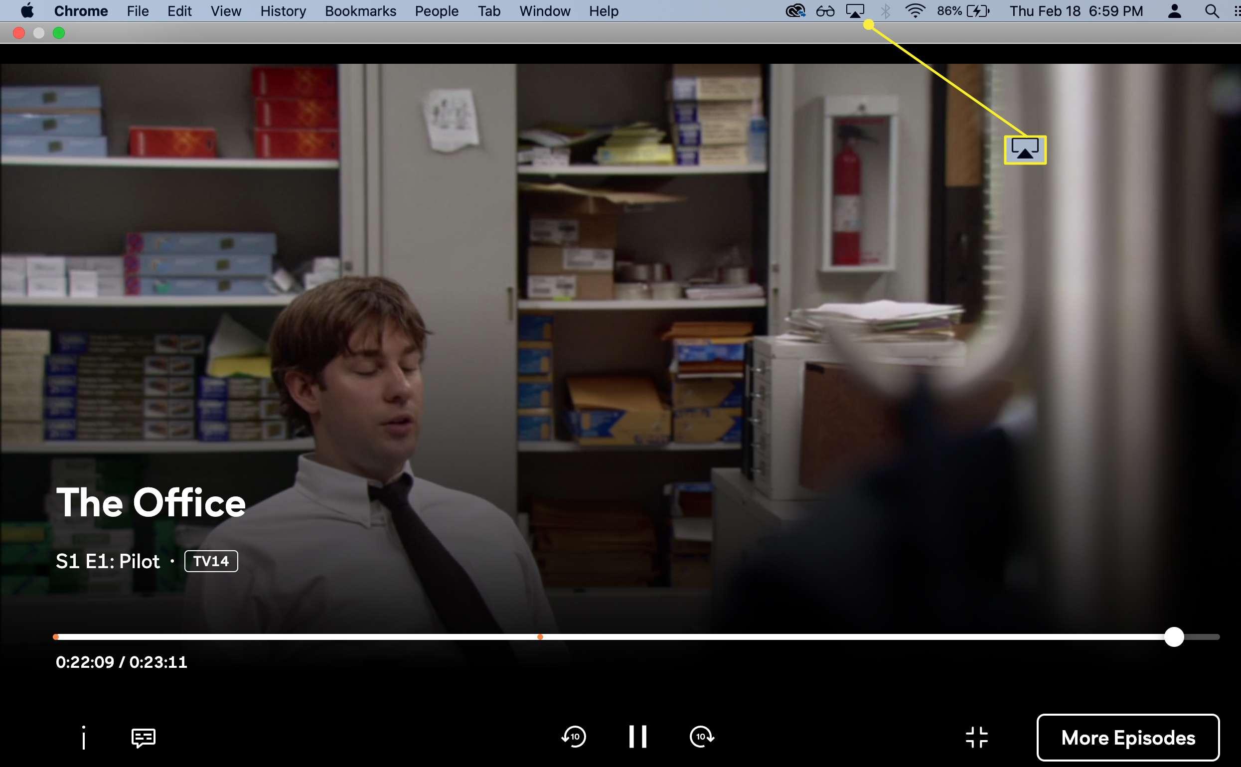 AirPlay icon highlighted on Mac menu bar