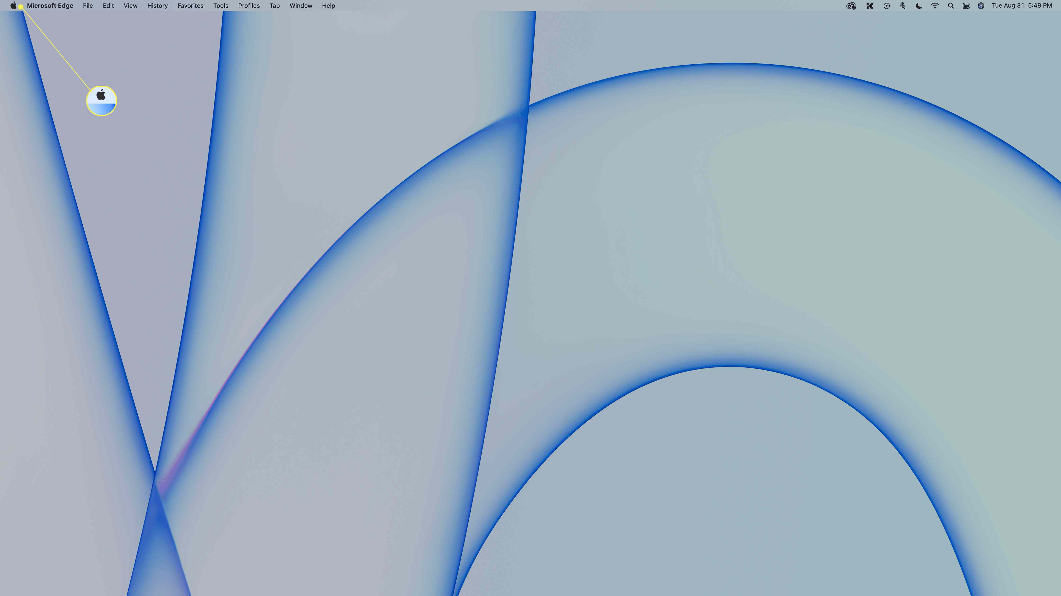 The Apple icon highlighted on the macOS menu bar.