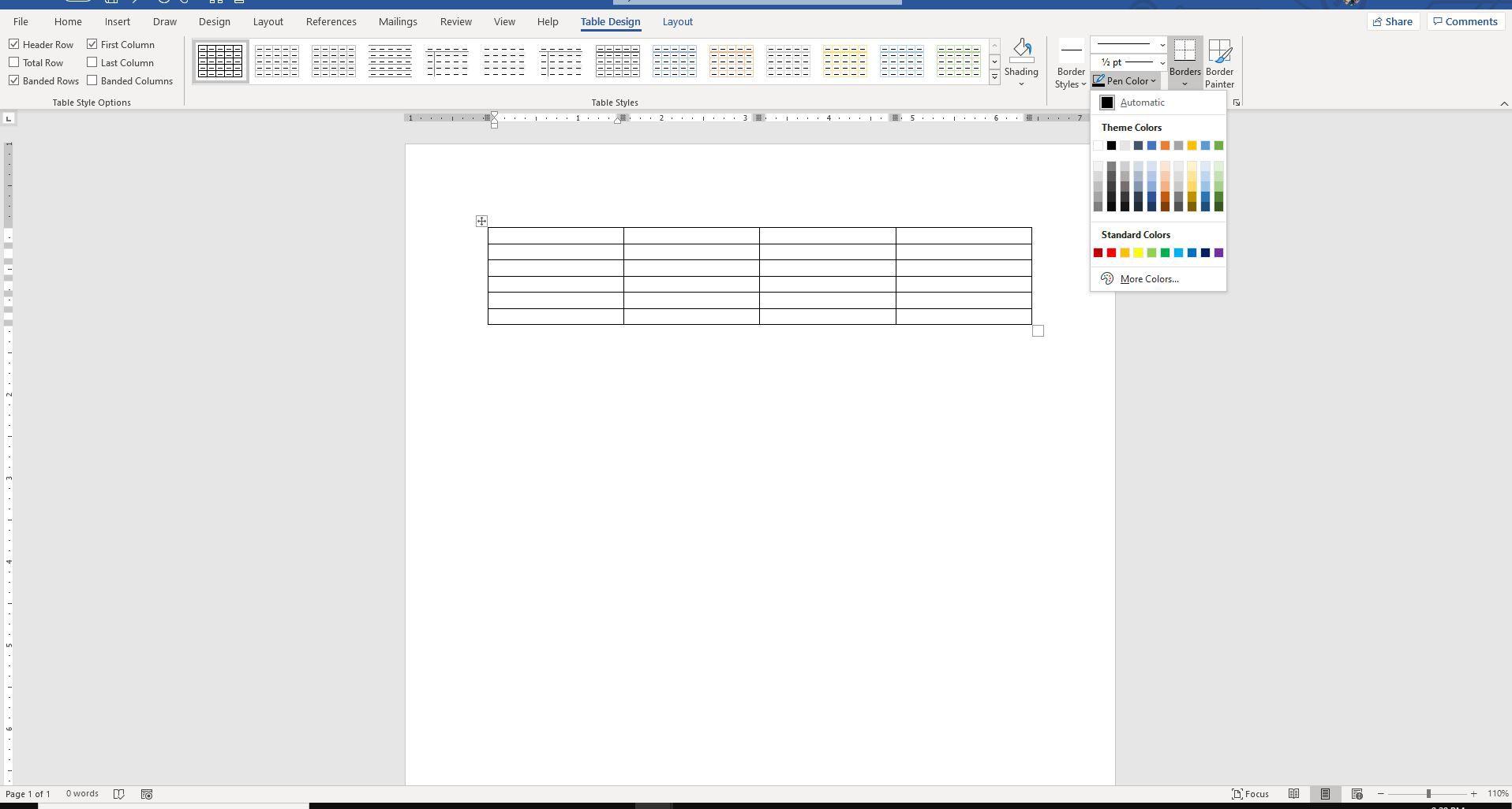 Screenshot of Pen Color in Borders group