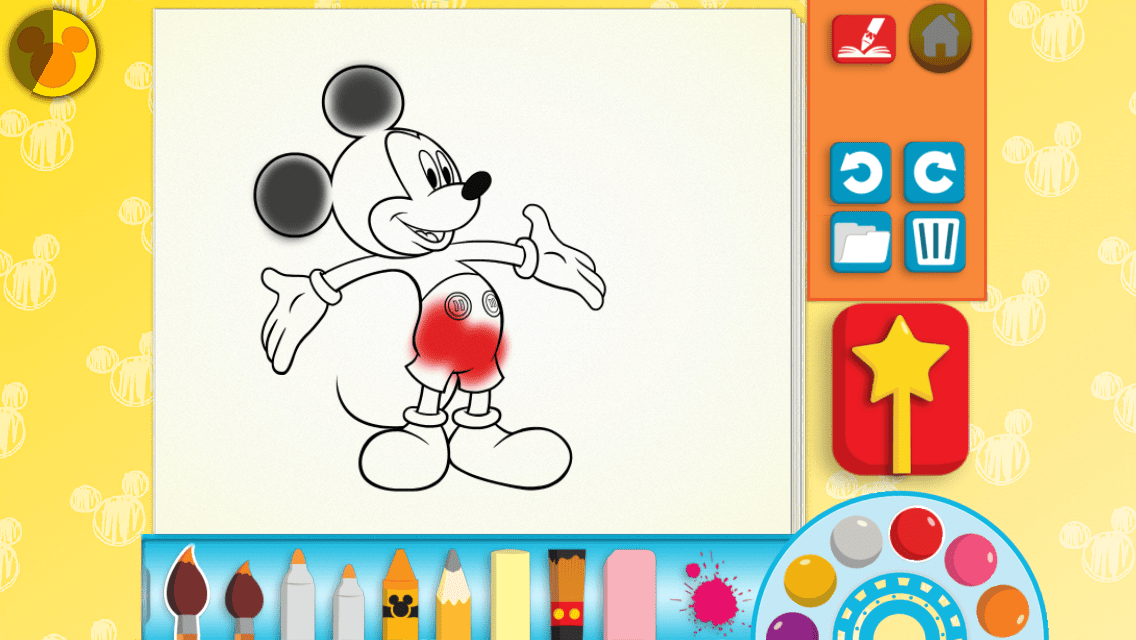 A screenshot of the Disney Color and Play app with Mickey Mouse in the center and various art tools around the screen.