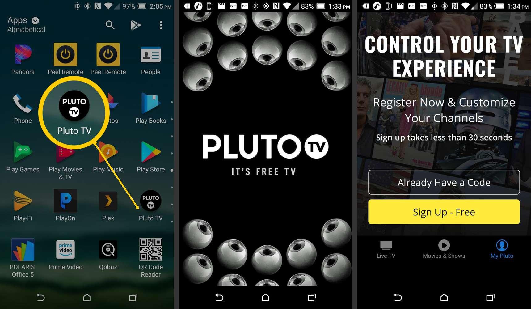 Pluto TV Smartphone App – Sign-Up