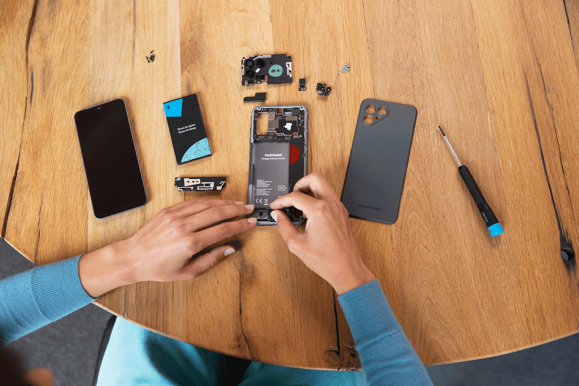 A Fairphone taken apart on someone kitchen table.