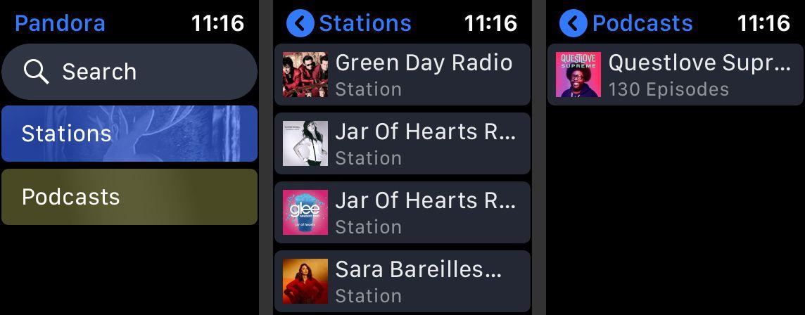 Three Pandora Apple Watch app screens showing the new interface