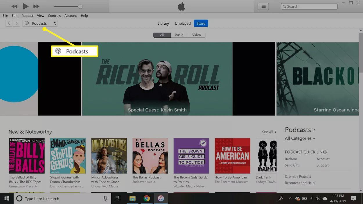 iTunes Podcast screen