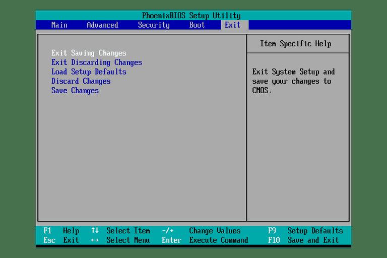 Screenshot of a BIOS Setup Utility Exit Menu