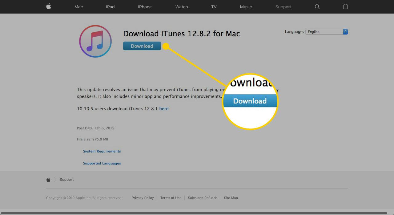 Download button on the iTunes website