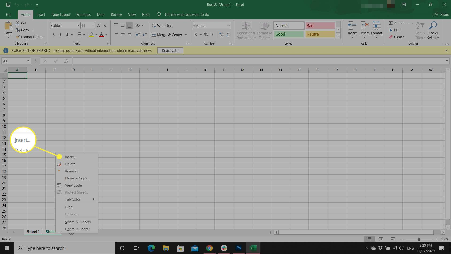An Excel user adds multiple worksheets using the Insert option