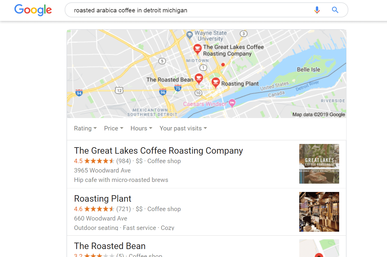 Google Search results for roasted coffee in detroit