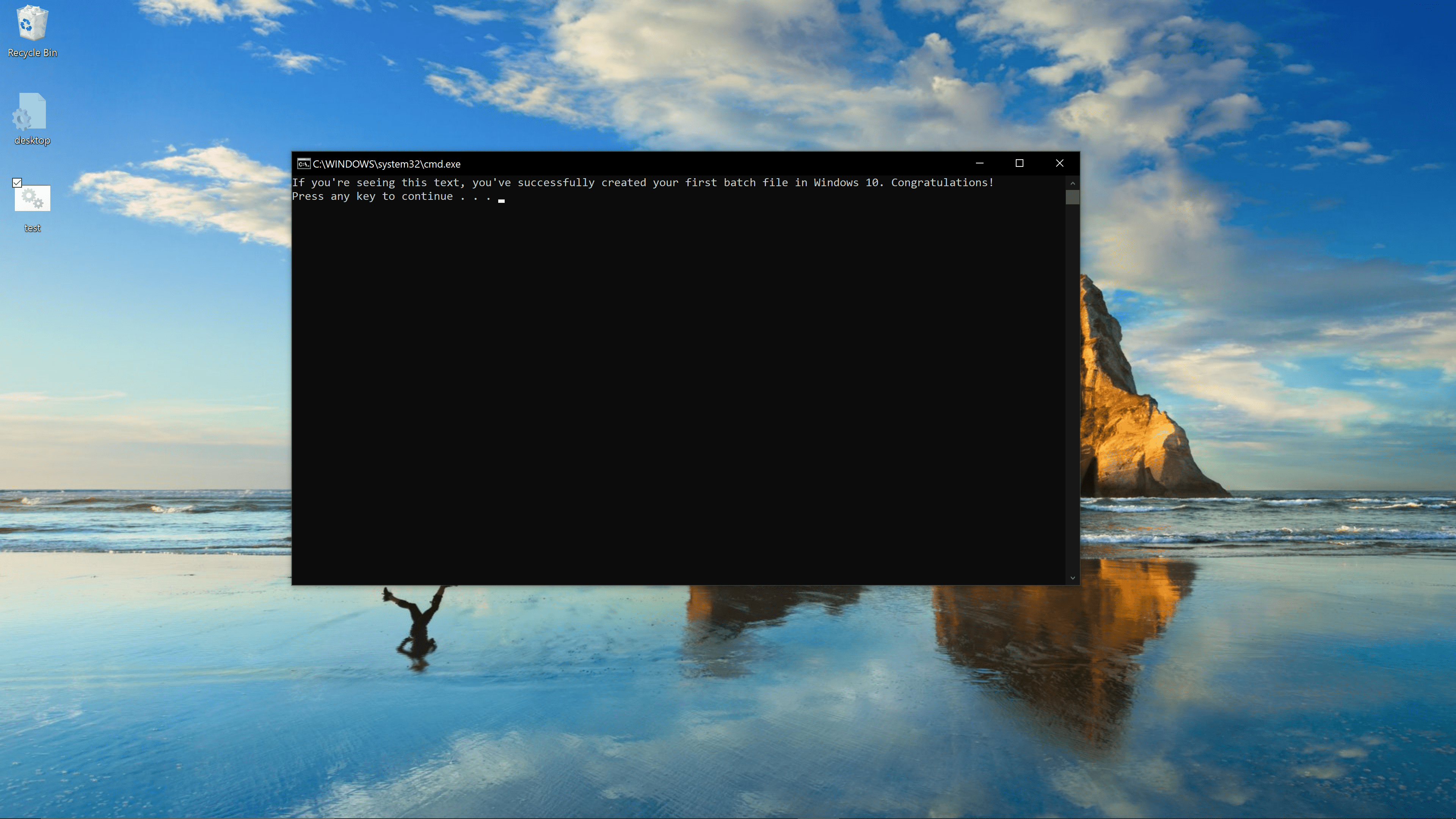 An executed batch file in Windows 10.