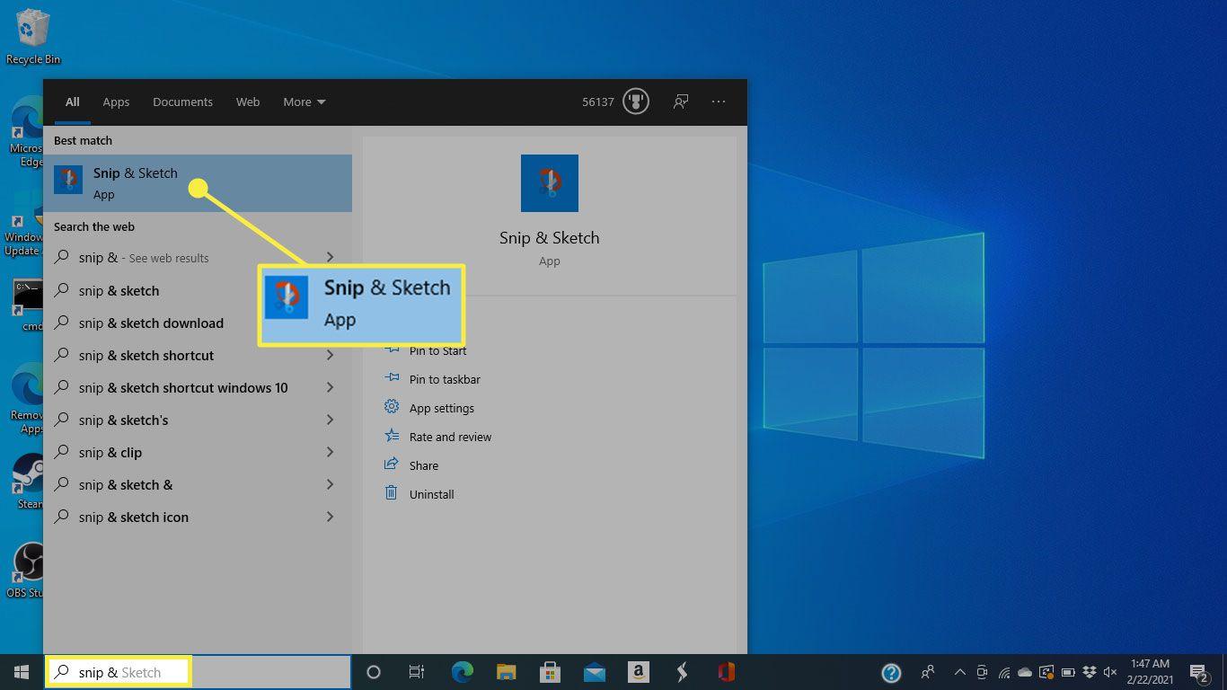 Snip & Sketch in Windows 10 search