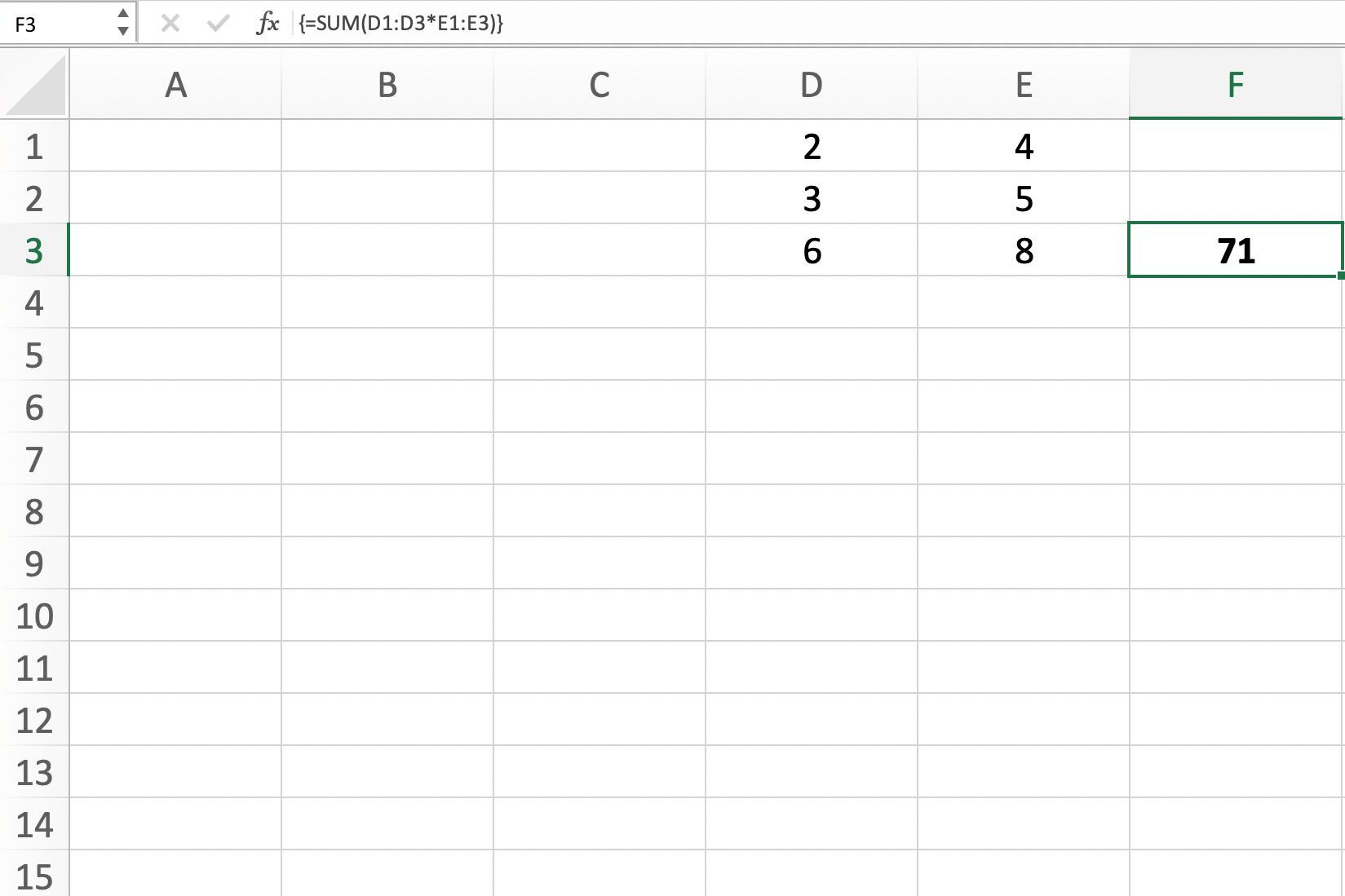 Screenshot of Excel showing how to create a simple single cell array formula