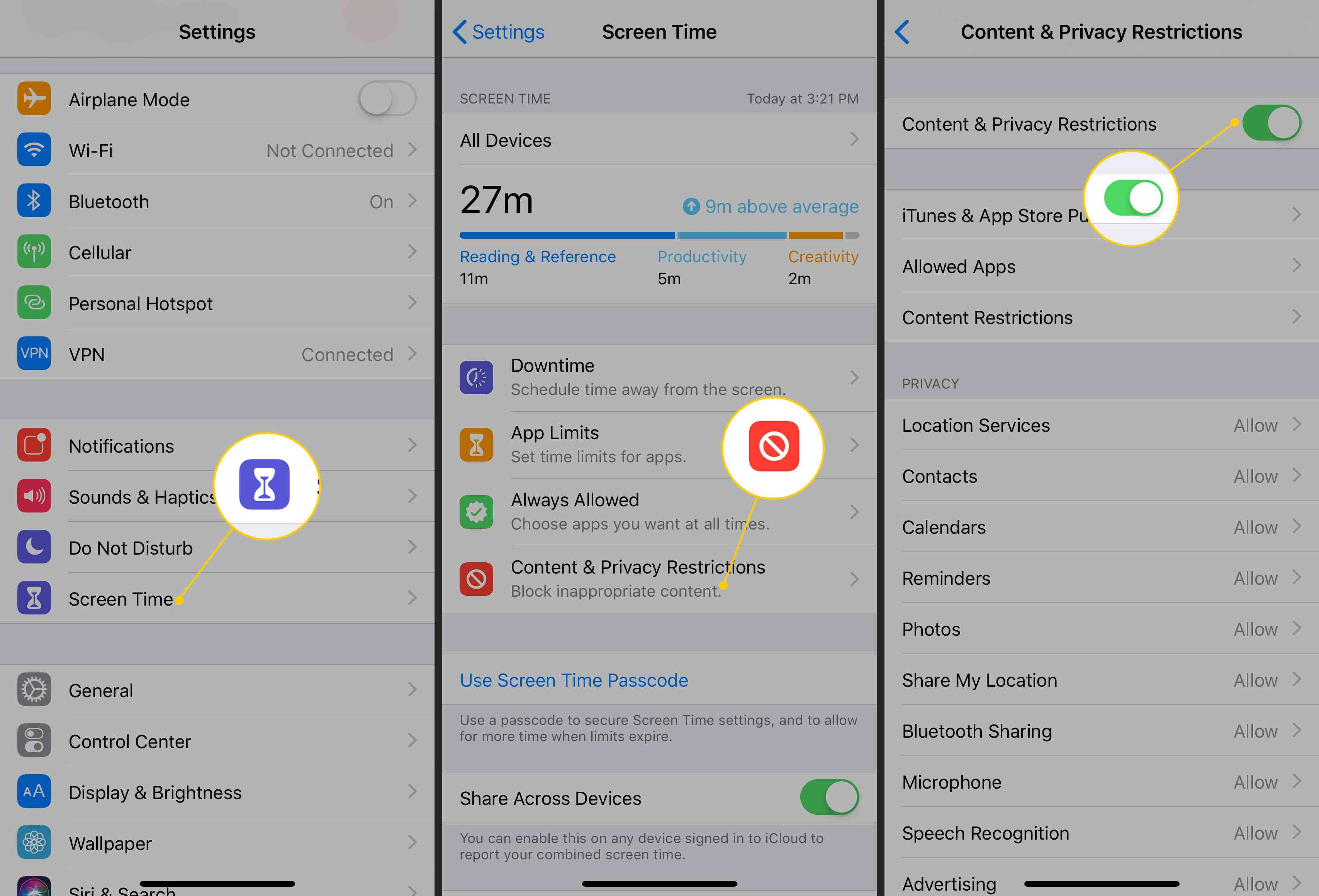Turning on Content & Privacy Restrictions on an iPhone
