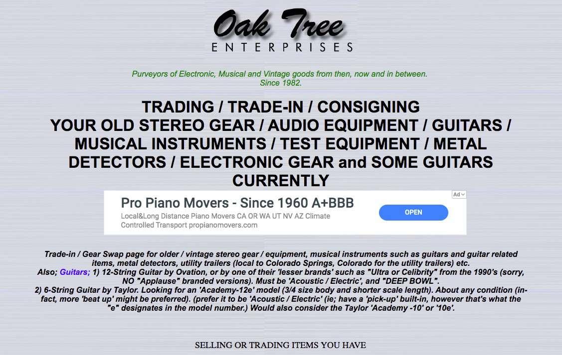 Oak Tree Enterprises online used stereo sales