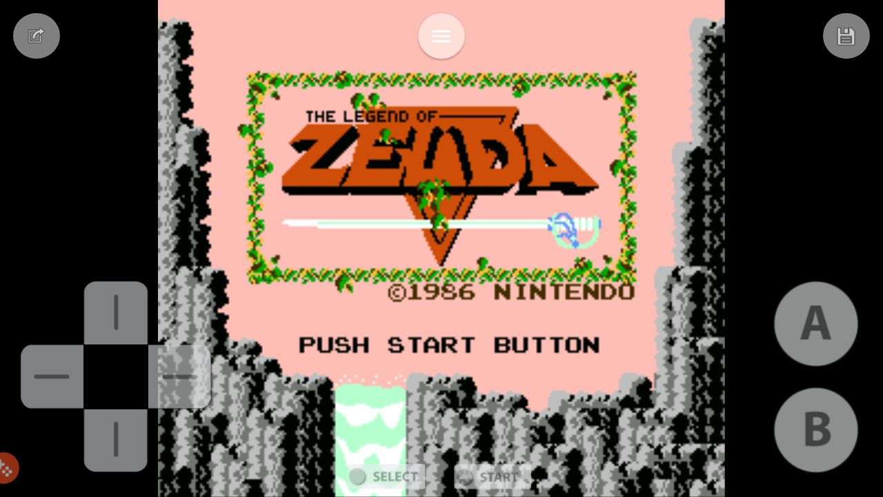The Legend of Zelda running on the Emubox emulator for Android