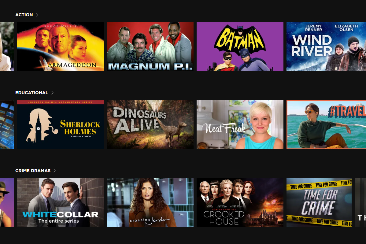Screenshot of the Roku Channel free action movies