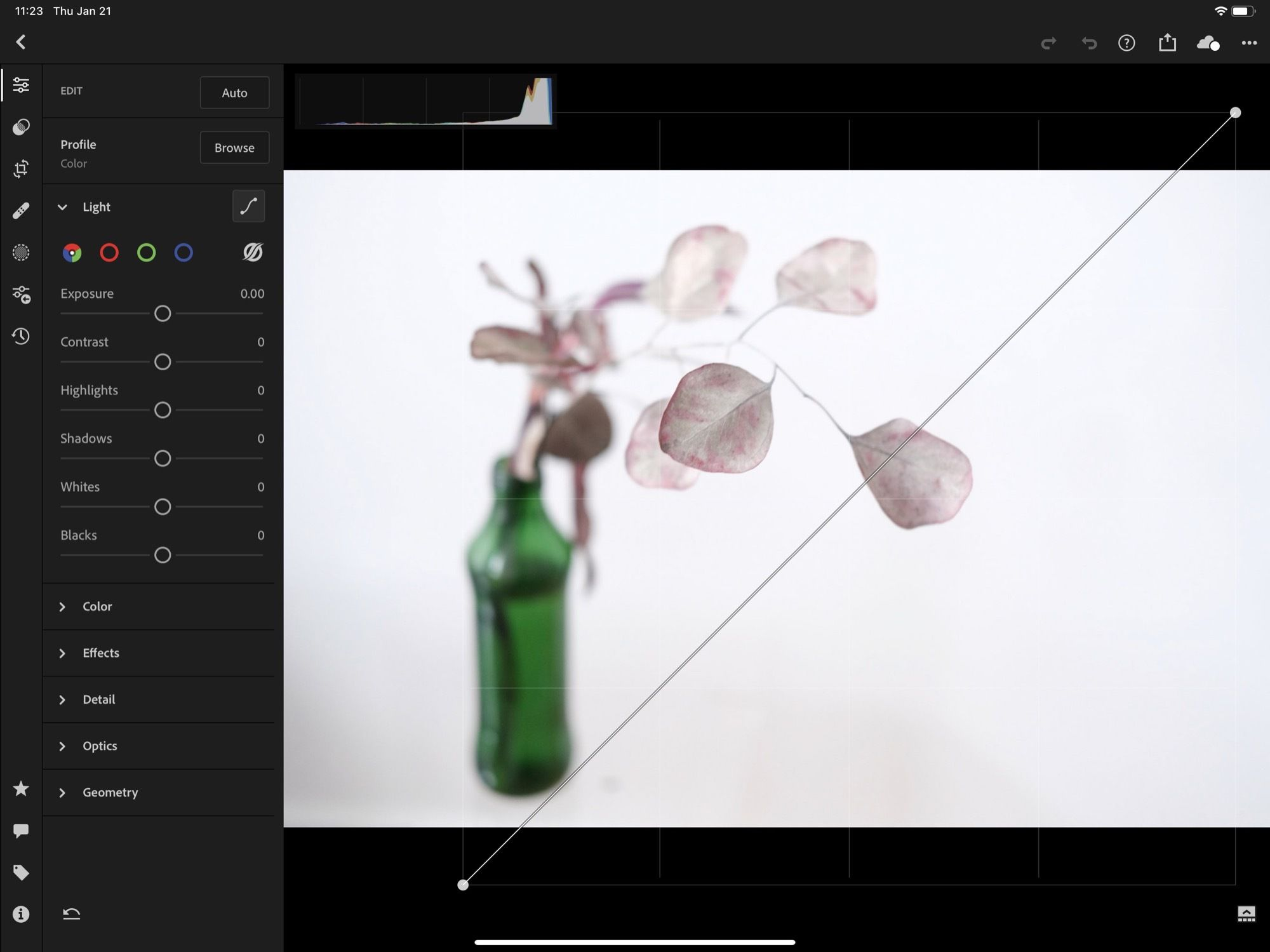 A Charlie Sorrel photograph being edited with the curves tool in Adobe Lightroom on an iPad.