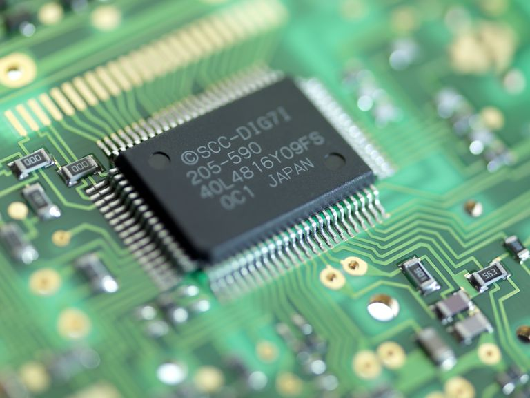 Microprocessor chip in circuit board