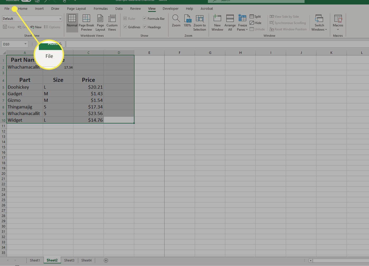 The File menu in Excel