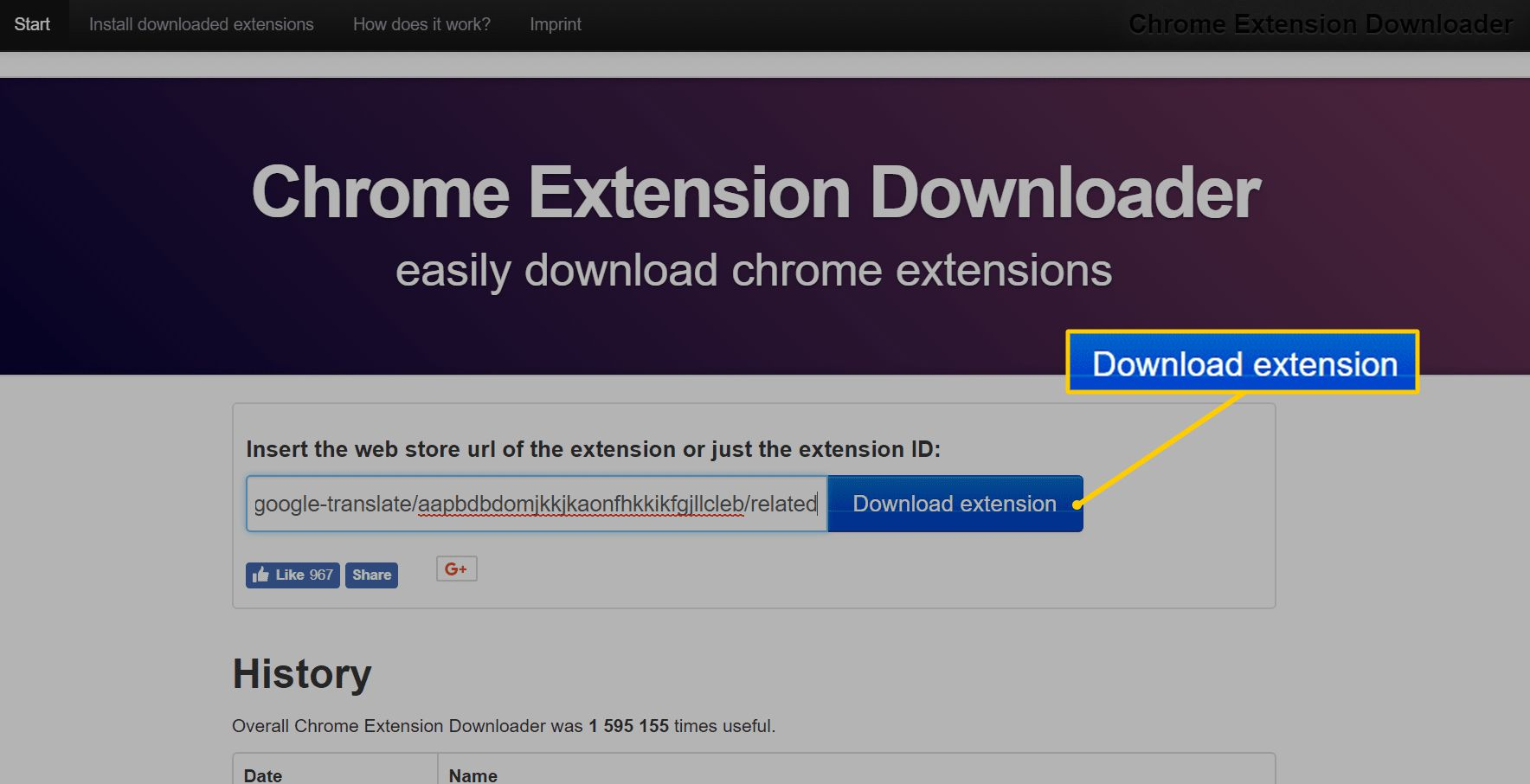 Download extension button