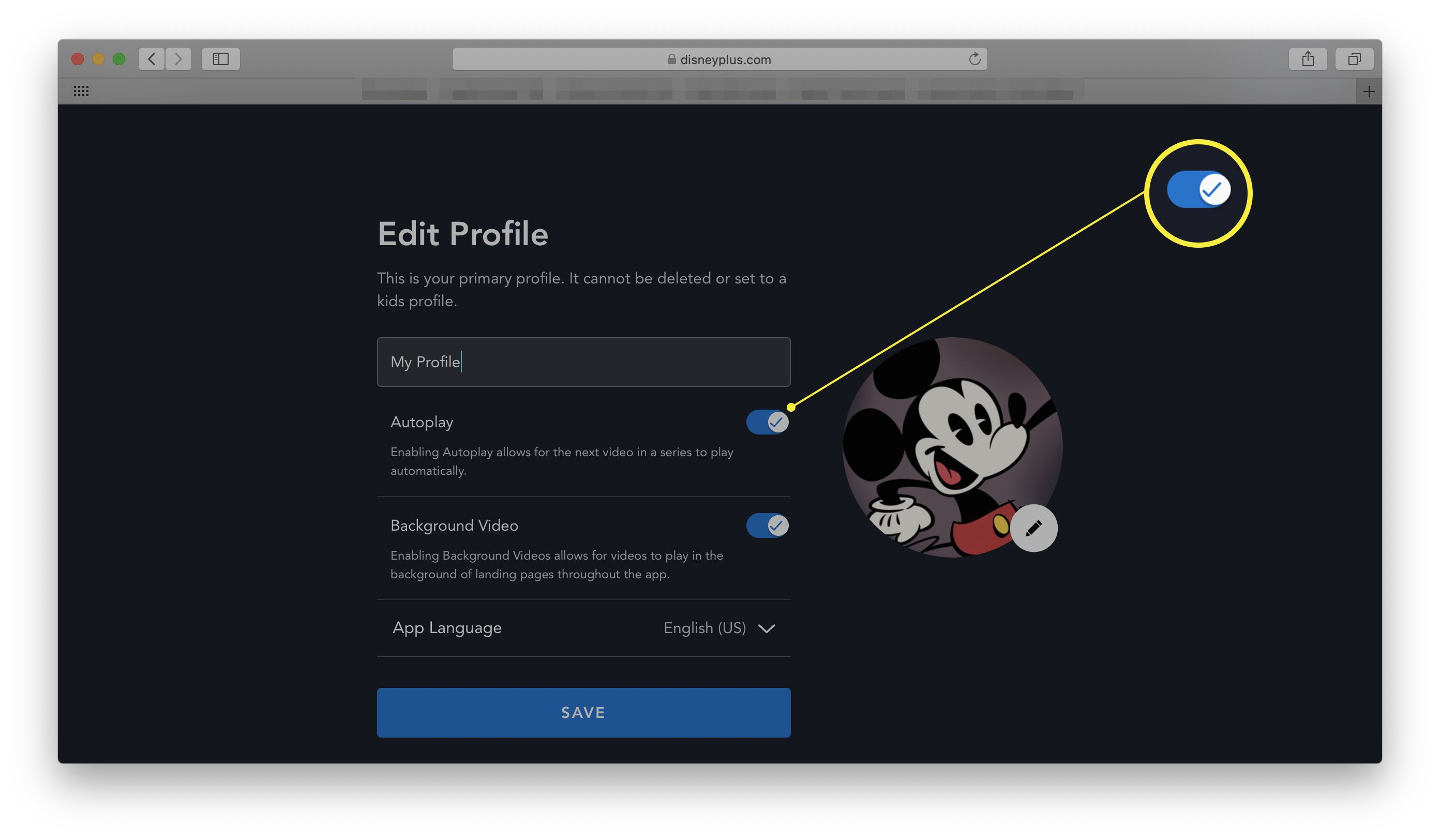 Disney+ in a web browser with Autoplay toggle highlighted