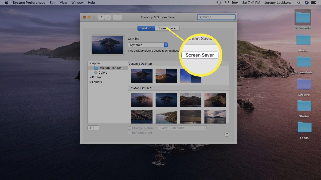 A screenshot of Desktop and Screen Saver settings on a Mac.