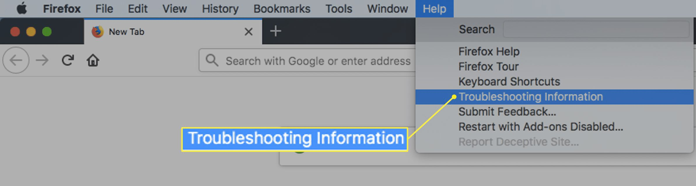 Firefox Help menu in macOS with Troubleshooting Information highlighted