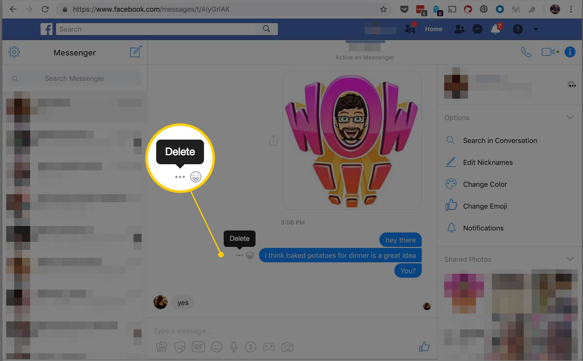 how to get messages from facebook app
