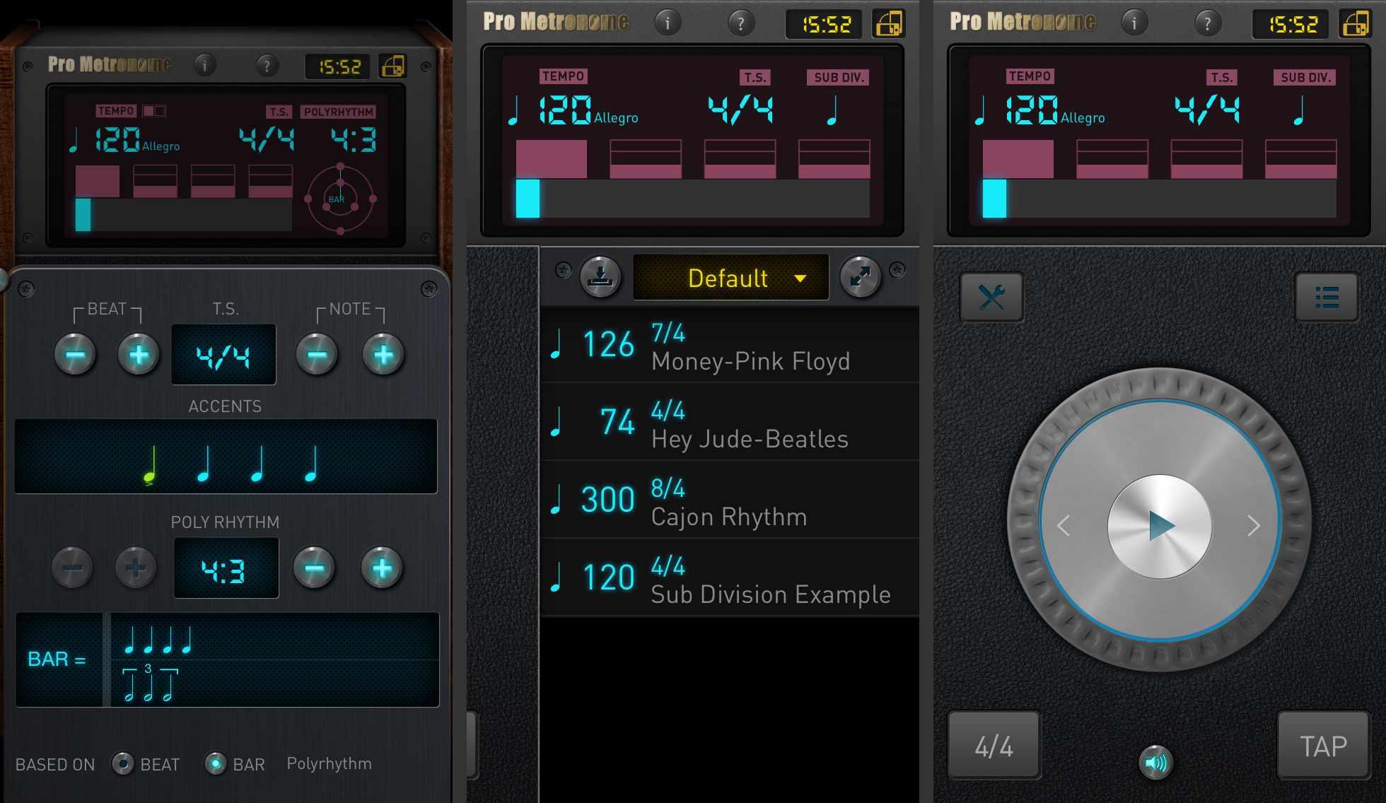 Three screenshots of the Pro Metronome app for iOS