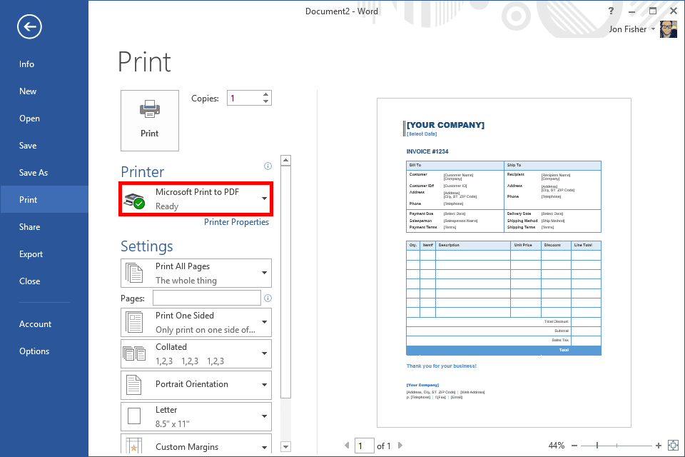 Screenshot of the Windows 10 print to PDF option in a Microsoft Word document