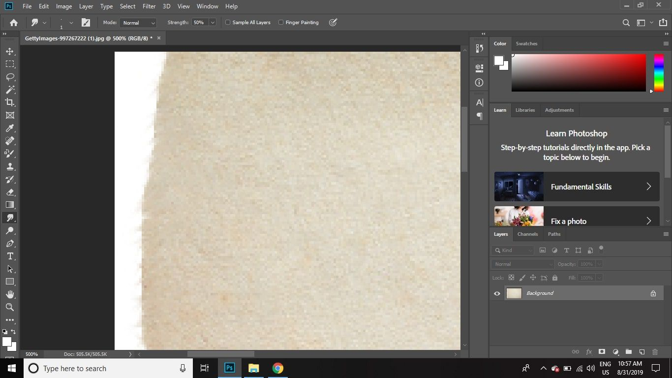 Continue painting smudged lines at random out of the edges of the image.