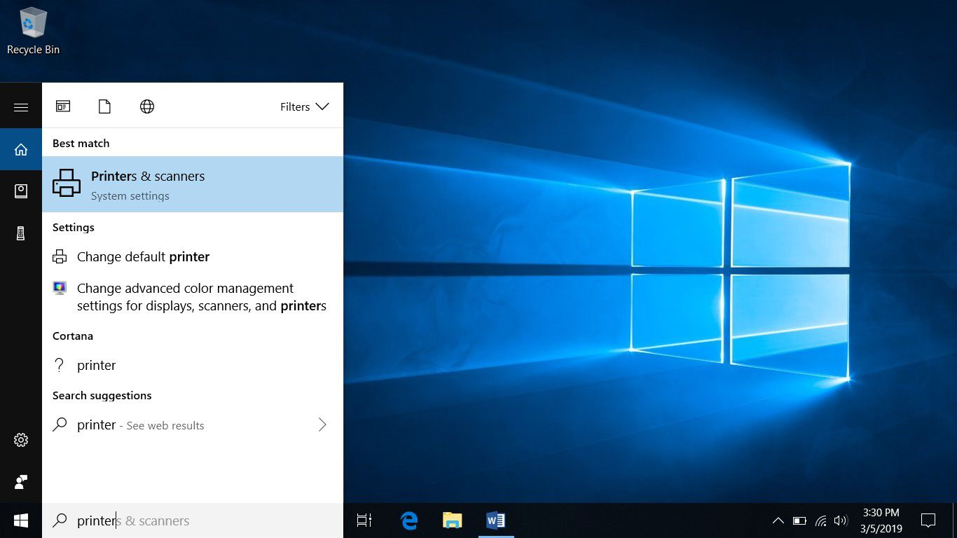 A screenshot showing how to find the Printers & scanners system settings from the Windows 10 search box