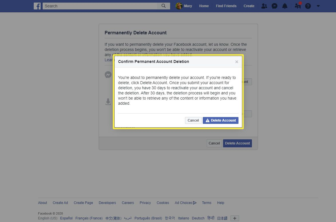 Another confirmation message when deleting a Facebook account using a browser.