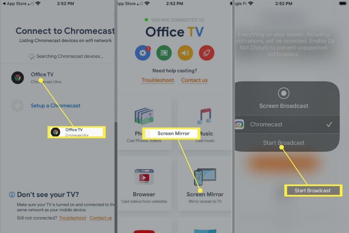 Enabling Screen Mirroring on Chromecast.