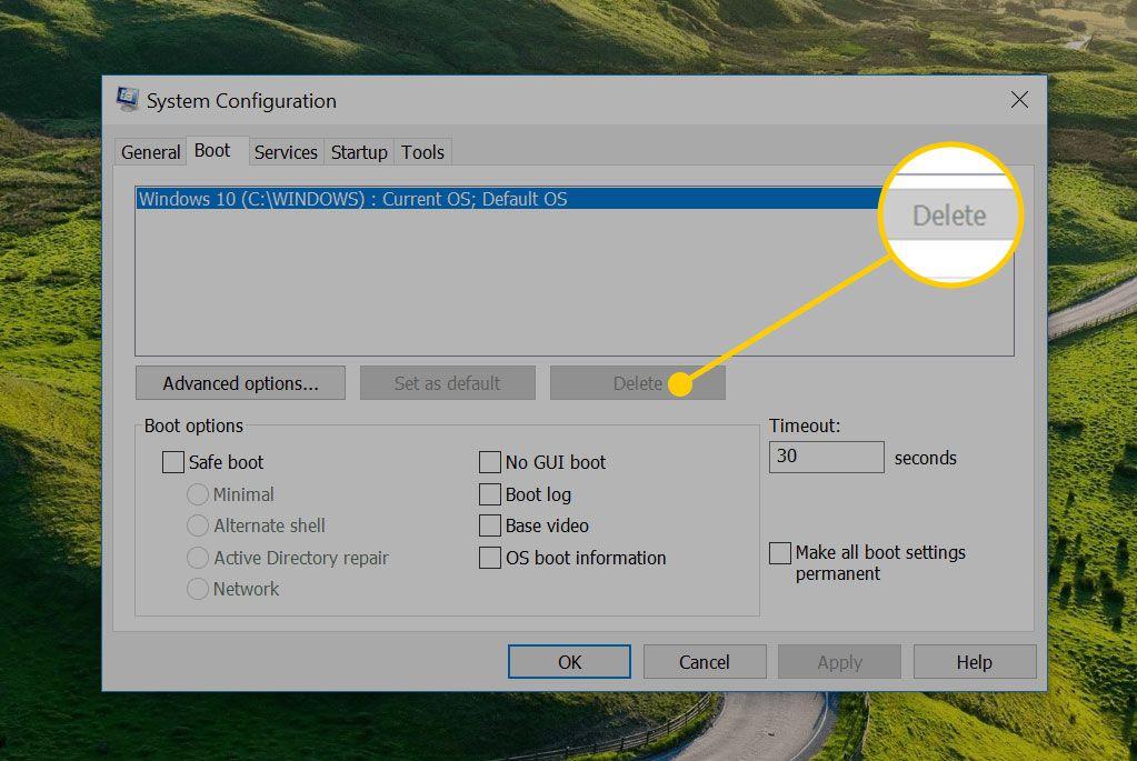 Delete button in Windows System Configuration