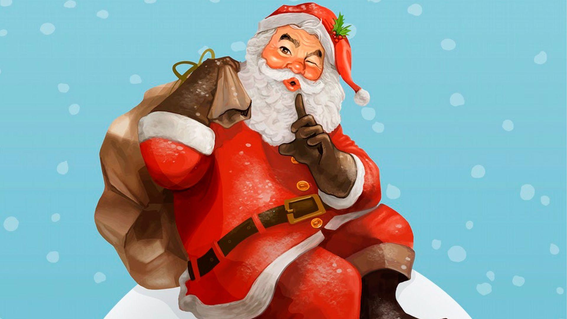 Drawing of Santa Clause winking.