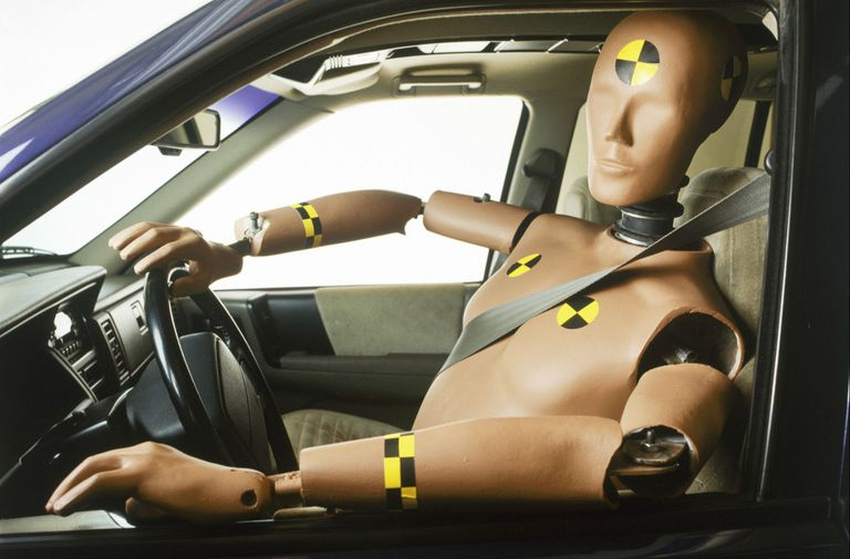 A crash test dummy tests vehicle safety technologies.