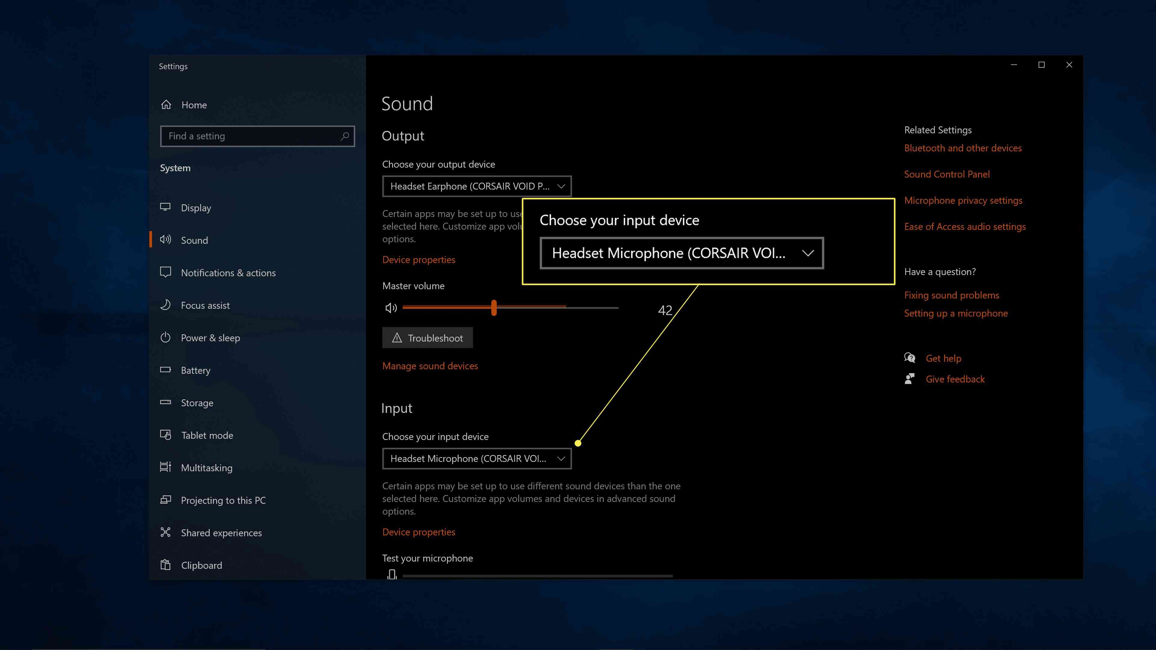 Choose your input device highlighted in Windows sound settings.