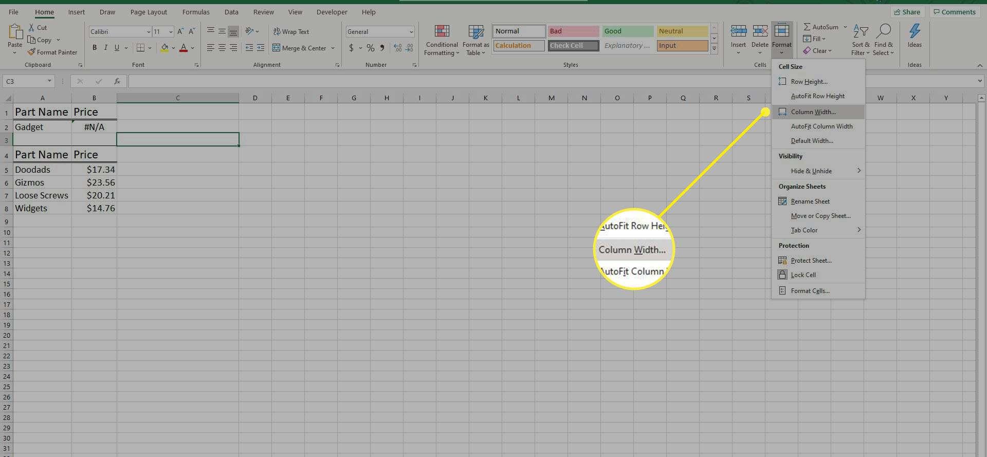 Format > Column Width in Excel