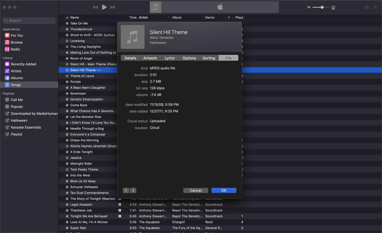 File tab in Music