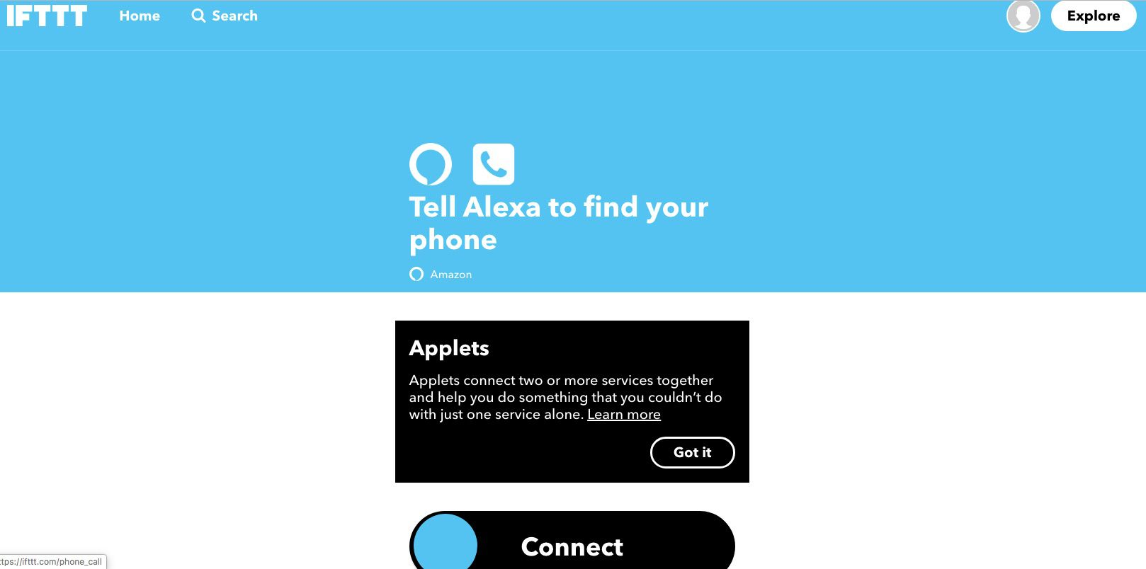 IFTTT applet that tells Alexa to find your phone