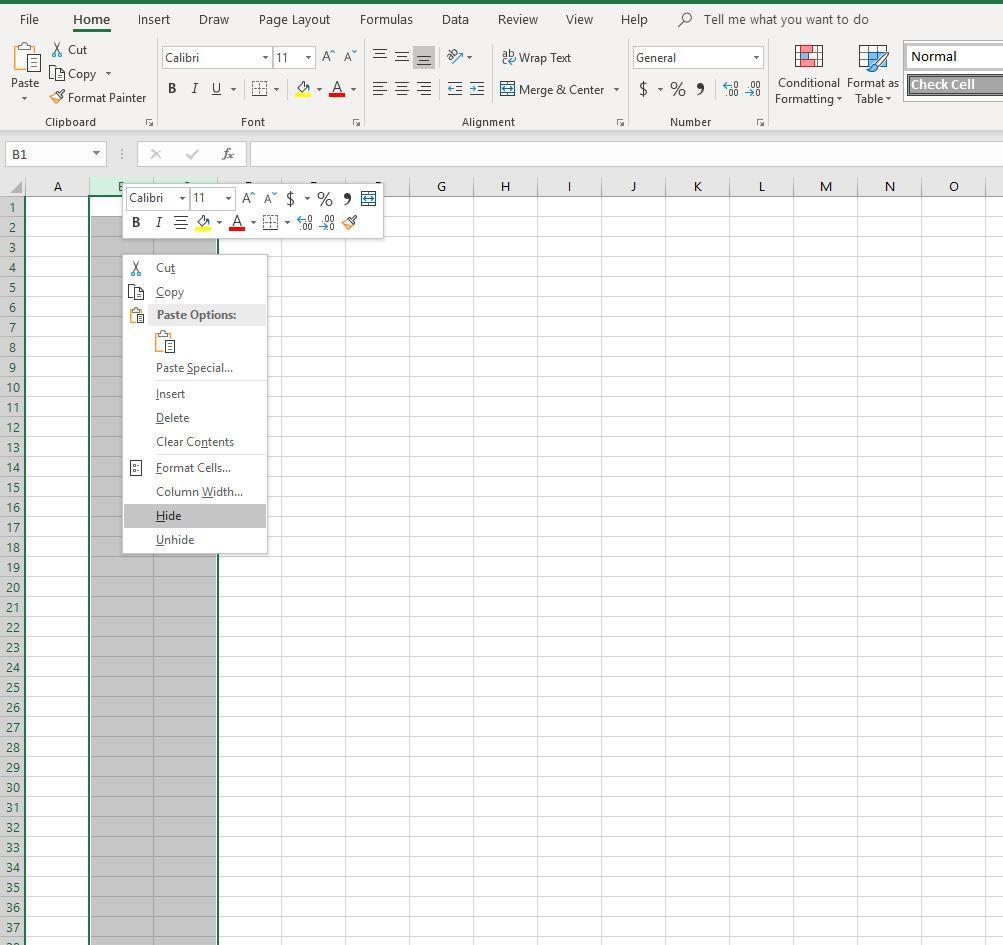 Hiding and unhiding columns in Excel