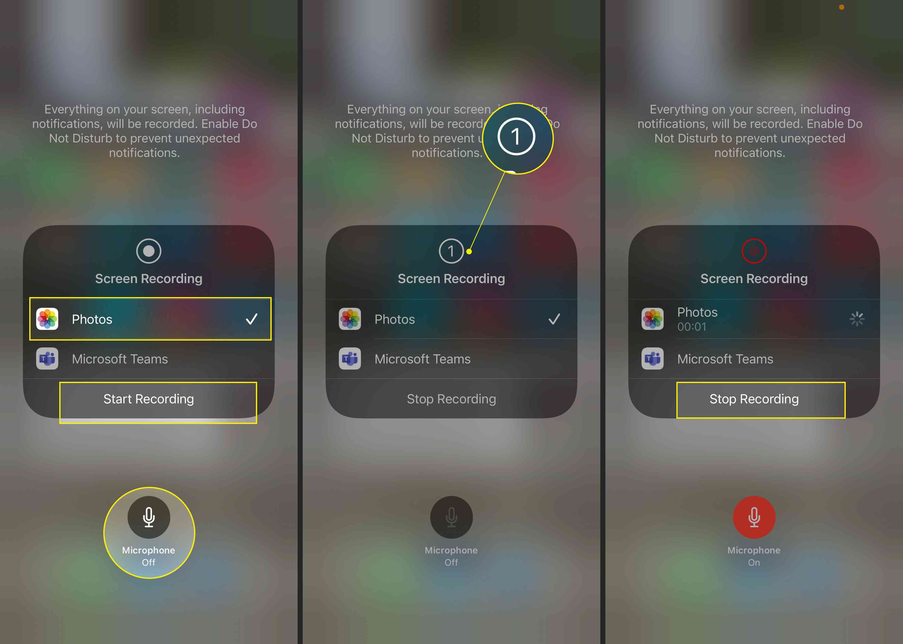 Screen recording on iPhone with Photos, Start Recording, Microphone, countdown, and Stop Recording highlighted