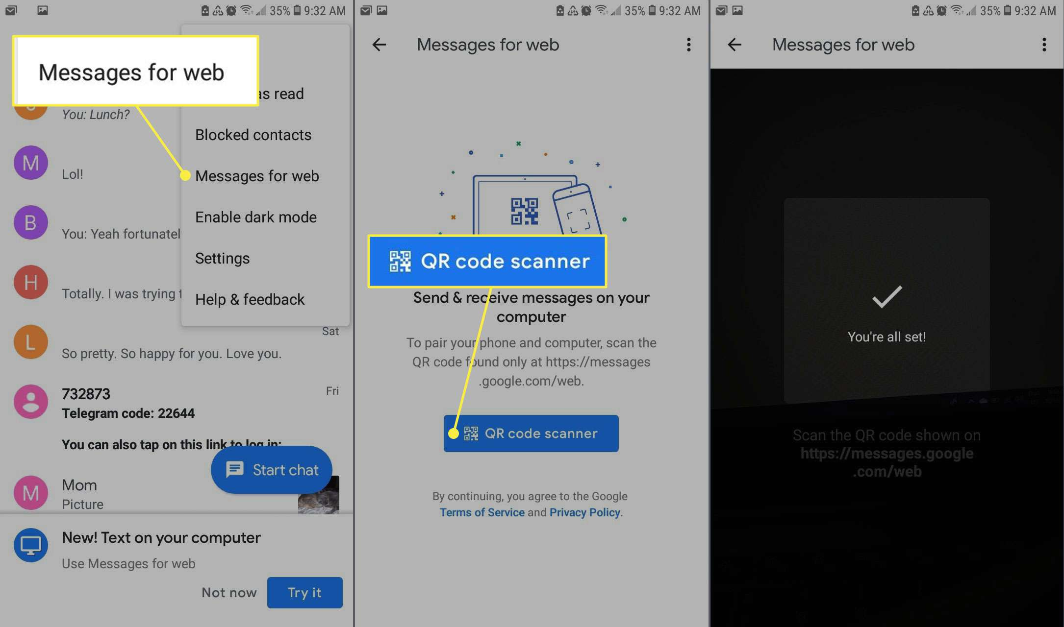 The Messages app for Android