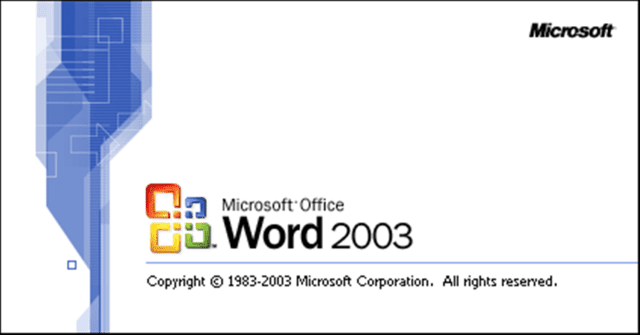 Word 2003 loading logo